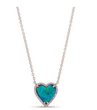 GOLD OPAL HEART DIAMOND NECKLACE - Cabochon Fine Jewelry