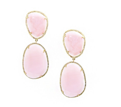 ROSE QUARTZ MOTHER OF PEARL DROP EARRINGS - Cabochon Fine Jewelry