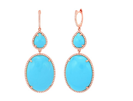 TURQUOISE PAVE DIAMOND EARRINGS - Cabochon Fine Jewelry