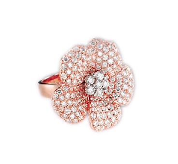 18KT GOLD FLOWER DIAMOND RING - Cabochon Fine Jewelry