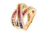18KT MULTI COLOR ROSE GOLD SAPPHIRE RING - Cabochon Fine Jewelry