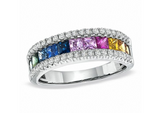 18KT MULTI COLOR SAPPHIRE PRINCESS CUT DIAMOND RING - Cabochon Fine Jewelry