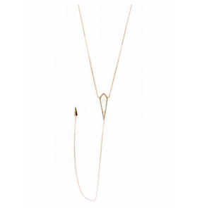 14KT ROSE GOLD WHTE TOPAZ LARIAT NECKLACE - Cabochon Fine Jewelry