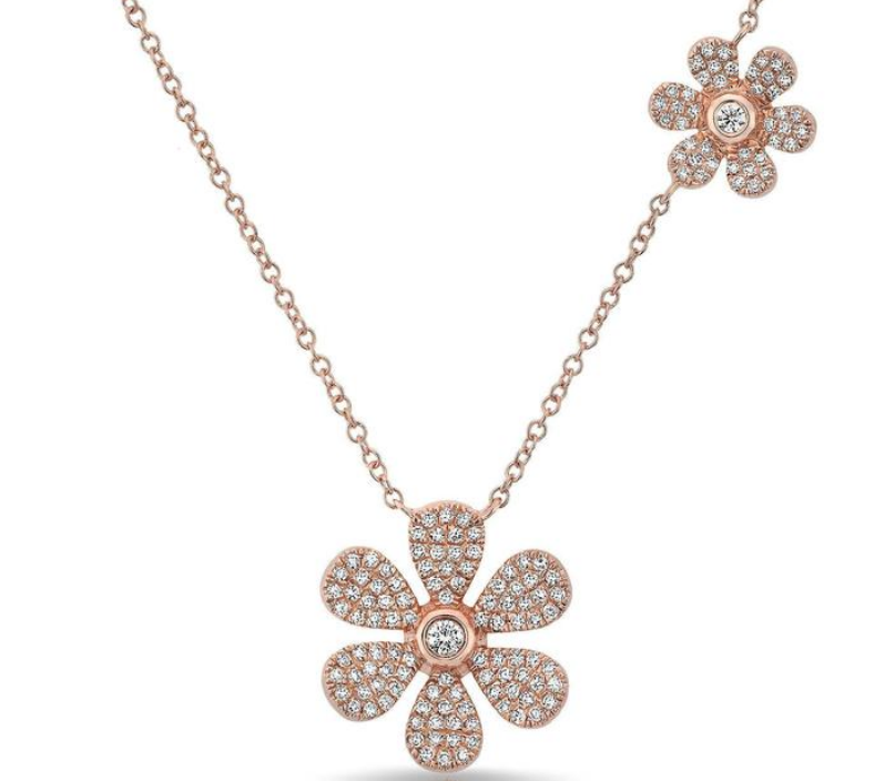 14KT ROSE GOLD DIAMOND DOUBLE DAISY FLOWER NECKLACE