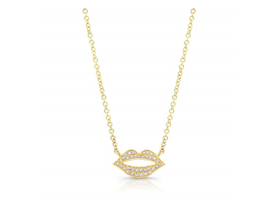 GOLD LIPS  NECKLACE - Cabochon Fine Jewelry