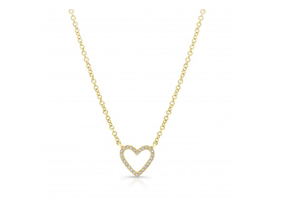 GOLD OPEN HEART NECKLACE - Cabochon Fine Jewelry