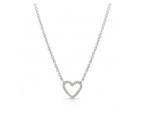 14KT OPEN HEART NECKLACE - Cabochon Fine Jewelry