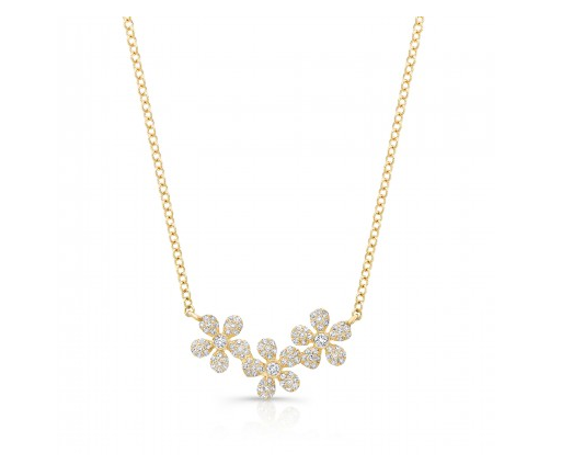 GOLD FLOWER TRIO NECKLACE - Cabochon Fine Jewelry