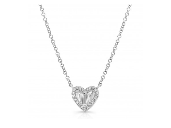 14KT BAGUETTE HEART NECKLACE - Cabochon Fine Jewelry