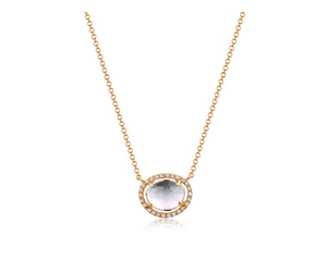 GOLD TOPAZ AND DIAMOND NECKLACE