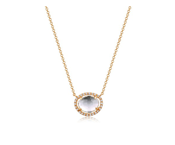 GOLD TOPAZ AND DIAMOND NECKLACE - Cabochon Fine Jewelry
