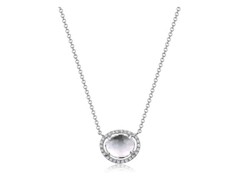 14KT TOPAZ AND DIAMOND NECKLACE - Cabochon Fine Jewelry