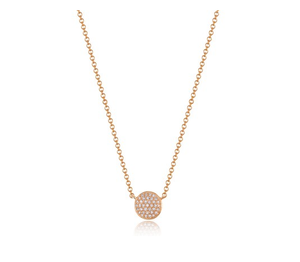 ROSE PAVE DISC NECKLACE