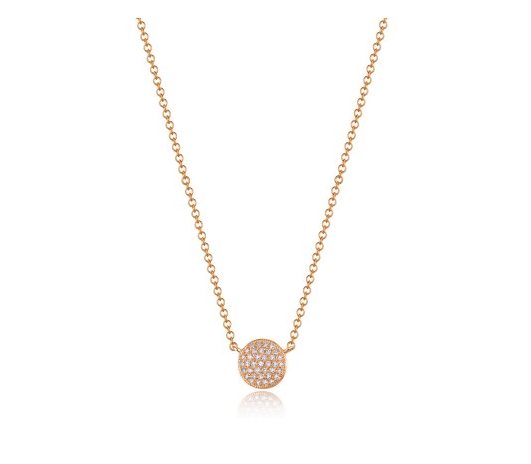 ROSE PAVE DISC NECKLACE - Cabochon Fine Jewelry
