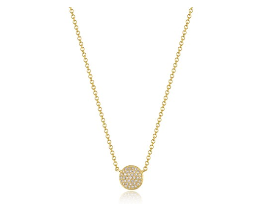 GOLD PAVE DISC NECKLACE - Cabochon Fine Jewelry