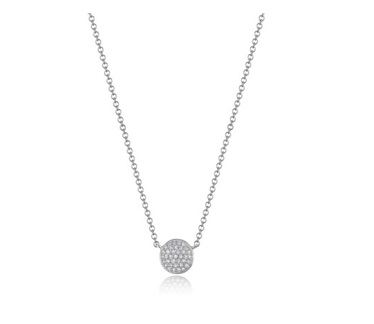 14KT PAVE DISC NECKLACE - Cabochon Fine Jewelry