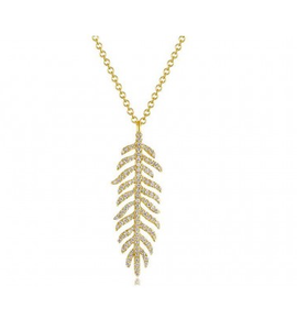 GOLD FEATHER NECKLACE - Cabochon Fine Jewelry