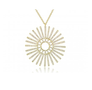 GOLD SUNBEAM NECKLACE - Cabochon Fine Jewelry