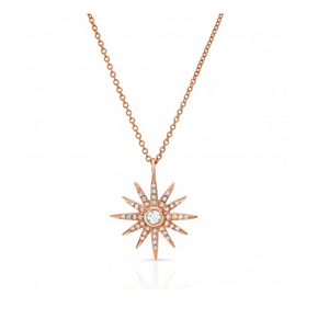 ROSE STARBURST NECKLACE - Cabochon Fine Jewelry