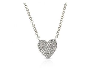 14KT PAVE HEART NECKLACE - Cabochon Fine Jewelry