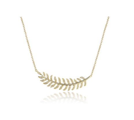 GOLD CURVED FEATHER NECKLACE - Cabochon Fine Jewelry