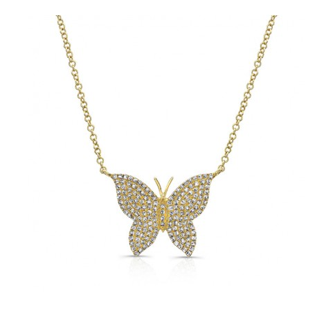 GOLD PAVE BUTTERFLY NECKLACE - Cabochon Fine Jewelry