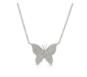 14KT PAVE BUTTERFLY NECKLACE - Cabochon Fine Jewelry