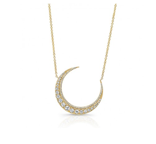 GOLD CRESCENT MOON NECKLACE - Cabochon Fine Jewelry