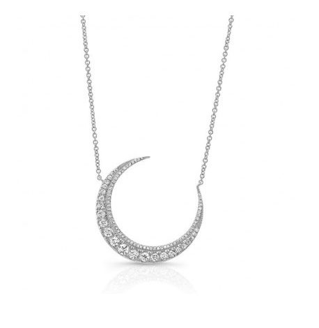 14KT CRESCENT MOON NECKLACE - Cabochon Fine Jewelry