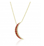 GOLD RUBY MOON NECKLACE - Cabochon Fine Jewelry