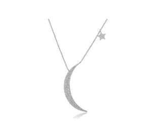 14 KT LARGE MOON AND STAR NECKLACE - Cabochon Fine Jewelry