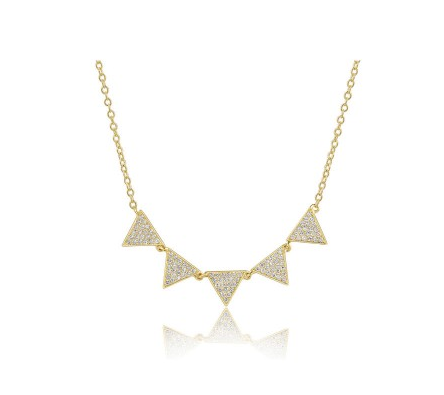GOLD 5 TRIANGLE NECKLACE - Cabochon Fine Jewelry