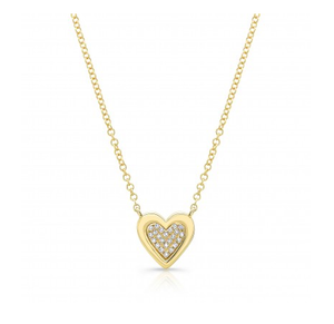 GOLD SOLID EDGE HEART NECKLACE - Cabochon Fine Jewelry