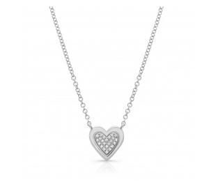 14KT SOLID EDGE HEART NECKLACE - Cabochon Fine Jewelry