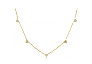 GOLD HEAR CHAIN NECKLACE - Cabochon Fine Jewelry