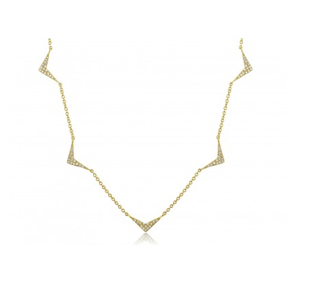 GOLD CHEVRON CHAIN NECKLACE - Cabochon Fine Jewelry