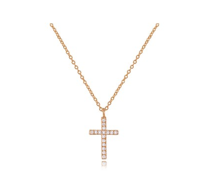 ROSE CROSS NECKLACE - Cabochon Fine Jewelry