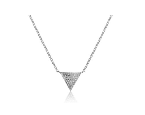 14KT SMALL TRIANGLE NECKLACE - Cabochon Fine Jewelry