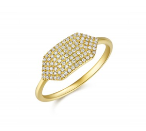 GOLD GEOMETRIC PAVE RING - Cabochon Fine Jewelry
