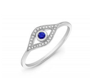 14KT EVIL EYE RING - Cabochon Fine Jewelry