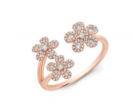 ROSE 3 FLOWER BAGUETTE RING