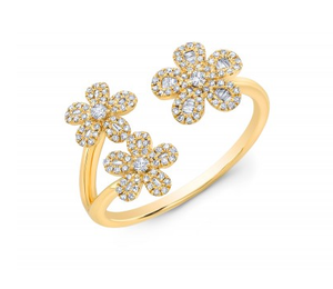 GOLD 3 FLOWER BAGUETTE RING - Cabochon Fine Jewelry