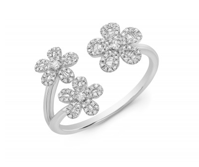 14KT 3 FLOWER BAGUETTE RING
