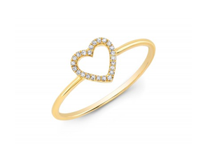 GOLD OPEN HEART RING - Cabochon Fine Jewelry