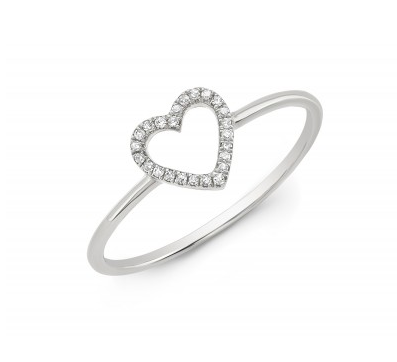 14KT OPEN HEART RING - Cabochon Fine Jewelry