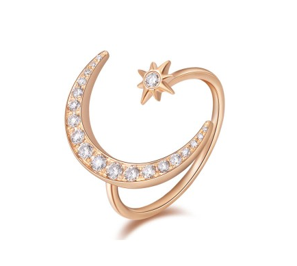 ROSE MOON AND STAR RING
