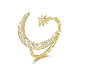 GOLD MOON & STAR RING - Cabochon Fine Jewelry