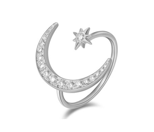 14KT MOON AND STAR RING - Cabochon Fine Jewelry