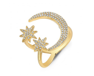 GOLD MOON AND TWIN STARS RING - Cabochon Fine Jewelry