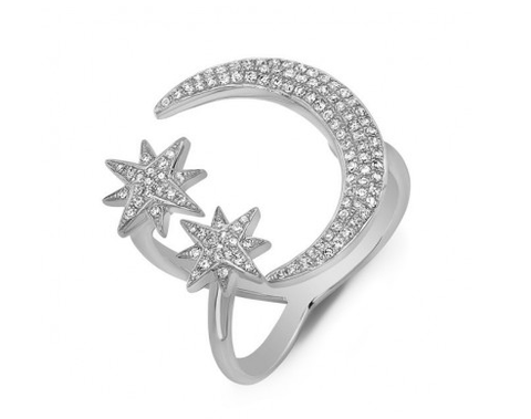 14KT MIDNIGHT MOON AND STARS RING